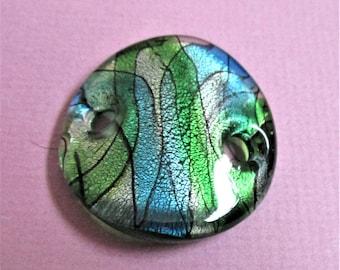 Vert métallique bleu pendentif en verre d'Art ou de ceinture boucle vert bleu argent bijoux Vintage abstrait fabrication approvisionnement pendentif cadeau fête des mères de