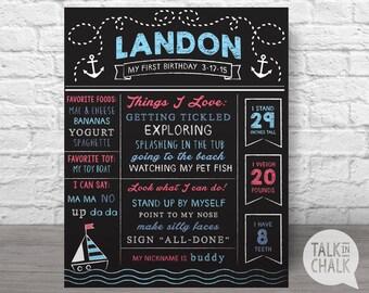 Nautical First Birthday Digital Chalkboard Sign, First Birthday Digital Poster, Boys 1st Birthday Poster, DIGITAL FILE
