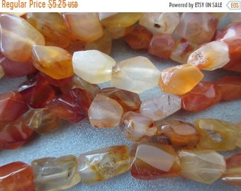 ON SALE 20% OFF Carnelian Faceted Nuggets Beads 29pcs