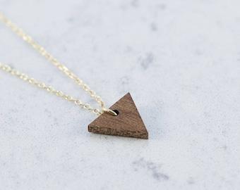 Triangle shaped necklace made of sapele wood,