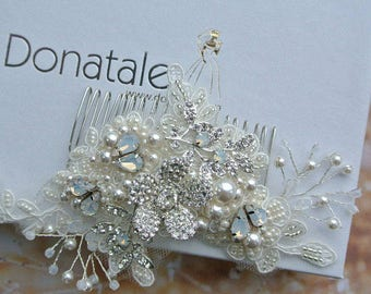 Opal hair comb, Wedding Hair piece, Bridal Headpiece , Lace Wedding Hair Comb , Bridal hair comb, UK  - LEAH