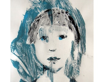 SALE Girl portrait art original monotype face figurative people child illustration