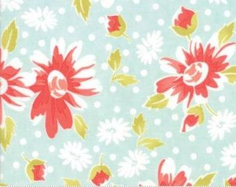 NEW! Moda COATED Floral Daisy Aqua Coney Island by Fig Tree and Co Yardage 20280 13C