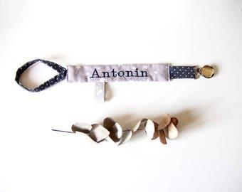 Pacifier clip, custom name, shades of gray, custom creation
