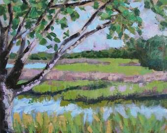"Marsh Morning Oak Tree 12"" square acrylic painting on canvas"