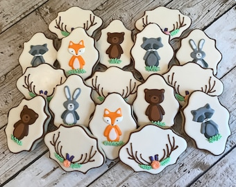 Woodland Animal Cookies | Woodland Animal Baby Shower | Woodland Animal Birthday Party | Woodland Baby Shower | One Dozen