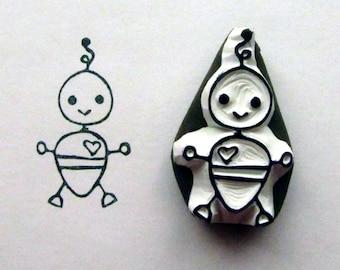 baby boy bot robot stamp