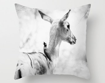 Deer pillow, deer cushion, photography, black and white, home decor, throw pillow, scatter cushion, deer, pillow cover, 14x14, 16x16, 18x18