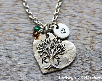 Tree with Carved Initials, Tree Necklace, Engagement Gift, Gift for Girlfriend, Gift for Wife, Wedding Gift for Bride