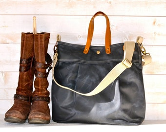 Waxed Canvas Bag Gray Messenger bag,leather tote ,Diaper bag,Leather straps,Large messenger,Tote ,Travel bag ,Brown leather,Waterproof