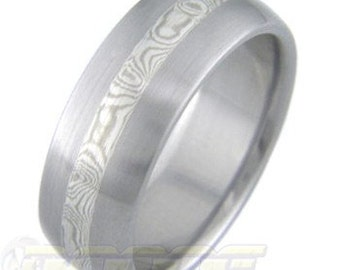 Titanium with White Gold and Silver Mokume