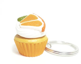 Food keychain Cupcake keychains Cupcake jewelry Miniature orange cupcake Miniature food Polymer clay orange cupcake Cupcake accessory