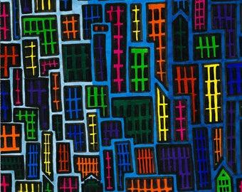 Pop art metropolis city original ink drawing illustration
