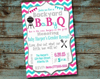 Baby BBQ Gender Reveal, Baby Que Invitation, Gender Reveal BBQ Invitation,  Pink or Blue, Bun In The Oven, Chevron, Baby Shower Digital File