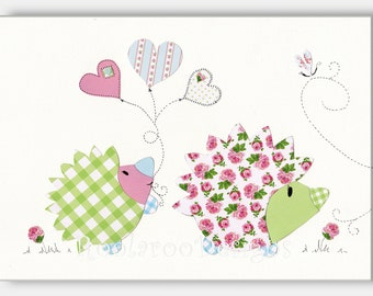 Nursery Art, Baby Girl, Hedgehog, Kids Wall Art,  Green, Pink, Blue, Hedgehog Sweethearts - PRINT
