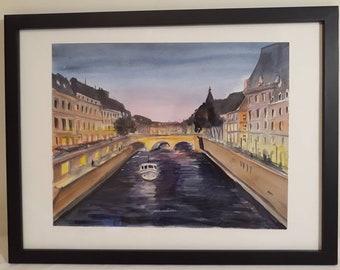 A boat on Seine river