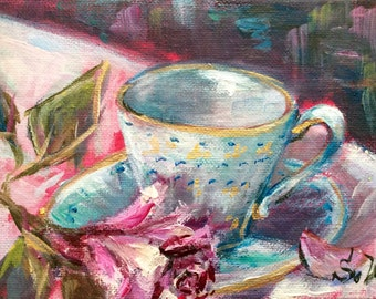 Tea cup and rose original painting  5 x 7""