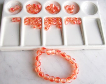 Acrylic Round Beads Orange & Clear Jewelry Beading Supplies  64 Pieces