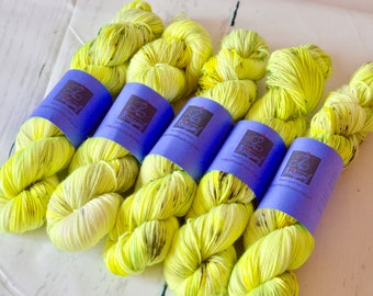 Hand dyed speckled yarn - Fingering weight - Neon Lights