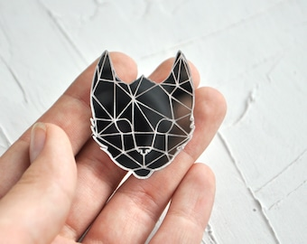 Cat pin acrylic brooch - mirror cat acrylic brooch, mirror silver cat pin brooch, cat pin brooch, mirror perspex brooch - ready to ship