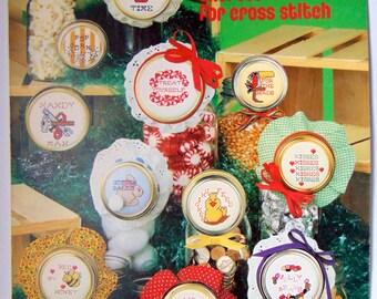 "Counted Cross Stitch ""JAR LIDS"" Leisure Arts 1982"