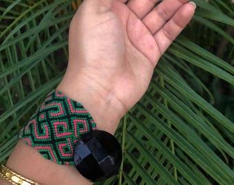 handmade custom woven friendship bracelet. festival fashion. green. black. edm. celtic. large. button. anklet. wristband. macrame.