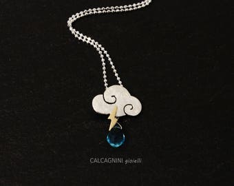"""Necklace """"SWEET CLOUDS""""- small cloud in satin sterling silver with blue topaz drops and lightning"""