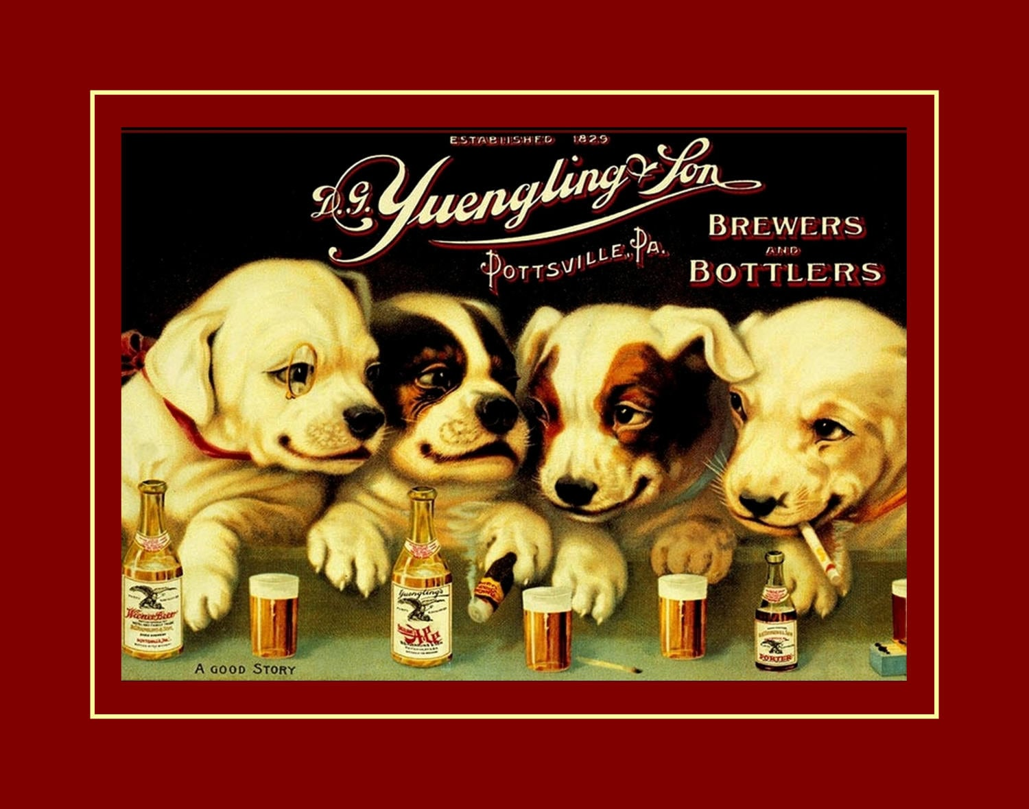 Beer Poster Cute Puppy Wall Art Dogs Drinking Painting Art