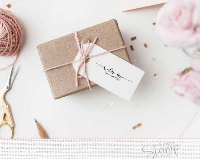 Featured listing image: With Love Stamp - 12 Favor Stamp - Custom Gift Tag Stamp - DIY Wedding Stamp - Calligraphy Font With Swashes - Rustic Wedding Stamp