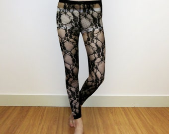 Black legging - black lace - Black stretch lace legging