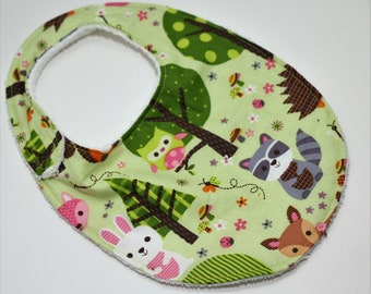 Baby Woodland Animals on Green reversible baby bib with white or brown terry cloth