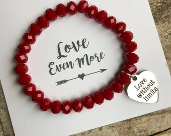 """Red beaded bracelet with """"love without limits"""" heart charm - you are loved -  beaded bracelet - Love Squared Designs"""