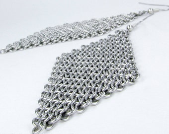 Chainmaille Earrings - Large Diamond Style - Stainless Steel