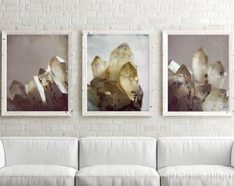 "20% Off   Crystal art prints   nature wall art   mineral gemstone art   gray mauve pale yellow photographs 11x14 ""Rock Crystal Set of Three"""