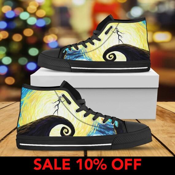 Custom Shoes Halloween Jack Converse Nightmare Christmas Before Top Nightmare Christmas Jack Skellington High And Sally Sneaker Shoes HPPxSYE