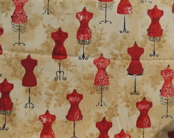 Fabric cotton Kaufman beige red models