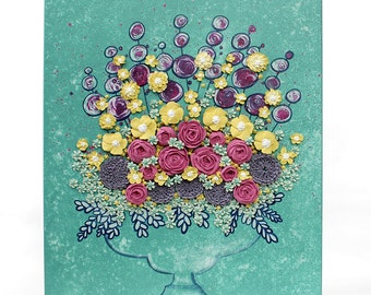 Sculpted Floral Canvas Art Painting with Textured Still Life Flowers and Roses in Teal Pink and Yellow - 16x20