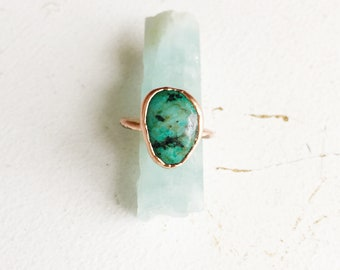 Turquoise Ring, Gemstone Copper Ring, Handcrafted Gemstone Ring, Turquoise Jewelry