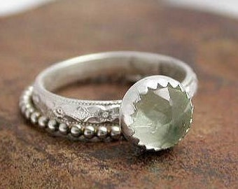 Soft Green Prehnite Sterling Silver Stacking Ring Set - Set of 2 rings - Mothers Ring