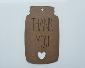 "Mason Jar Thank You Tags (2"" Wide), Mason Jar Tags -  Rustic Wedding Favor Tags"