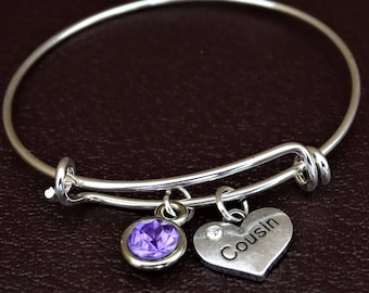 Cousin Bangle Bracelet, Adjustable Expandable Bangle Bracelet, Cousin Charm, Cousin Pendant, Cousin Jewelry, Cousin Gift,Cousin of the Bride
