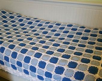 "White & Blue Granny Square Crochet Blanket 50"" x 82""  127cm x 208cm"