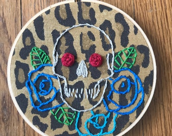 """Skull and Roses 5.5"""" Hand Embroidery"""