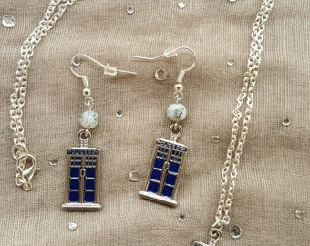 Doctor Who Inspired TARDIS Police Box Necklace/Earring Gift Set