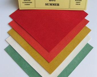 Ultrasuede Solar Hot Summer 5x5 Squares, Red, Orange, Mustard, Cream, Green