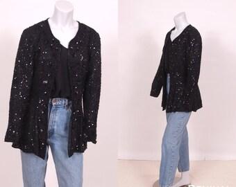 Black Sequin Trophy Jacket ||  Black Sequin Cardigan || Sequin Silk Crepe Blazer  || Stenay Sequin Cardigan