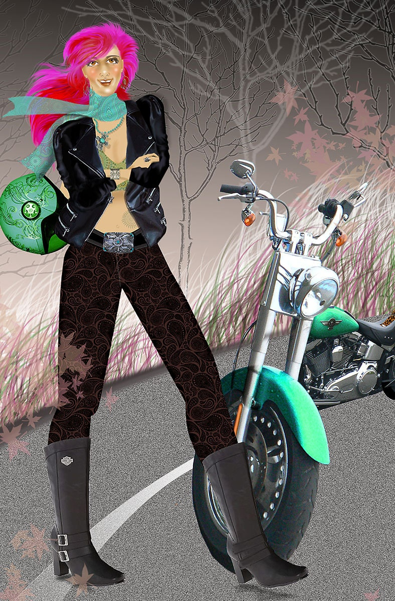 Motorcycle art motorcycle print lady biker with pink hair zoom kristyandbryce Image collections