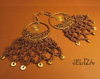 DANGLING earrings Brown lace GYPSY CHIC