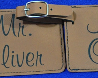 Bridal Shower Gift ~ Gift For Couple ~ Mr and Mrs Gift ~ Luggage Tag ~ Leather Tag ~ Bride And Groom Tag ~ Wedding Gift ~ Mr And Mrs ~ Gift