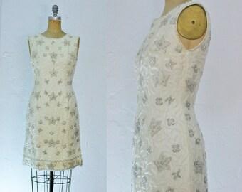 Vintage 1960s Beaded Wedding Dress Vintage Short Wedding Dress White Beaded Dress Size 6